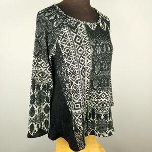 Black & tan geometric print top, Chris & Carol, S